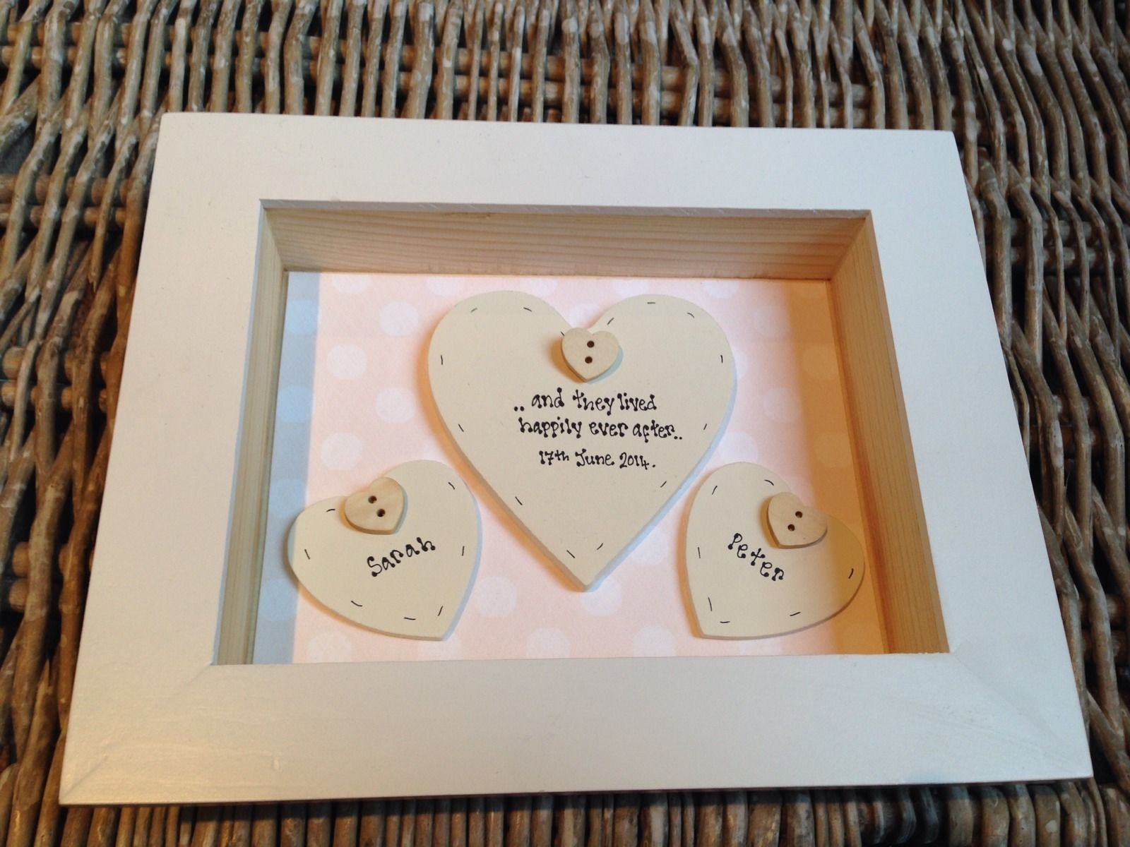 Gifts To Groom From Bride On Wedding Day: Shabby Personalised Chic Box Frame Gift For Bride & Groom